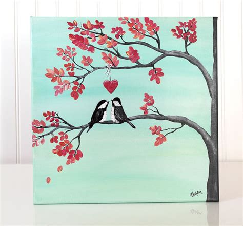Wedding Gift Drawing by Original Canvas Painting Bird Painting Coral And Mint
