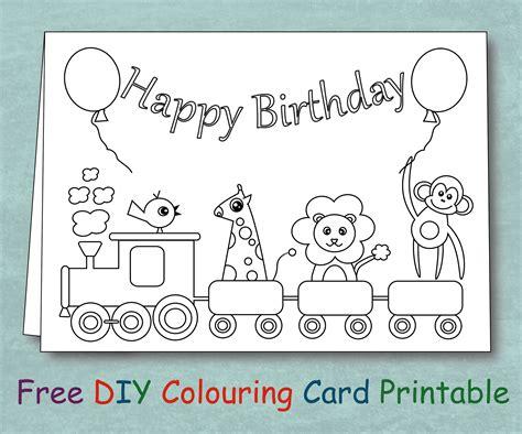 printable animal birthday cards free free animal train birthday card coloring printable diy