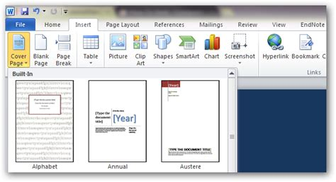 Office Titles How To Create Custom Cover Pages In Microsoft Word 2010