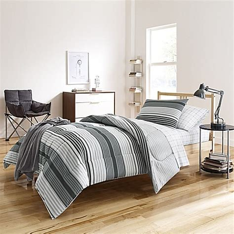 bed bath and beyond dorm kyle dorm comforter kit in grey bed bath beyond