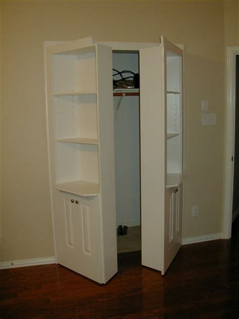 Hidden Shelves Double Hidden Door With Three Shelves And Remove Closet Doors