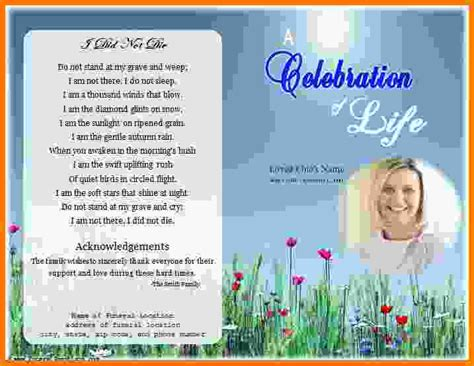 free funeral program template for word 5 free funeral program template microsoft word