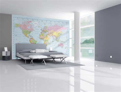 wallpaper wall mural world map modern theme design