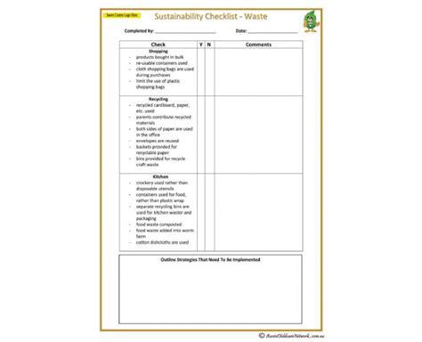 Sustainability Checklist Waste Aussie Childcare Network Sustainability Strategy Document Template