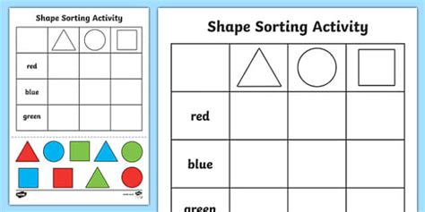 Sorting Shapes Worksheets free shape sorting cut and paste worksheet worksheet