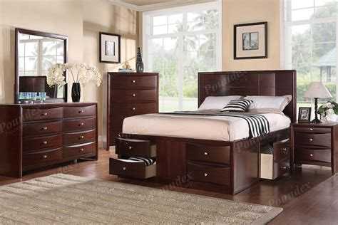 queen bedroom set with storage drawers new espresso queen bed with 6 under bed drawers ebay