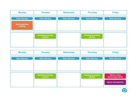 scrum planning cards template bi weekly sprint scrum calendar