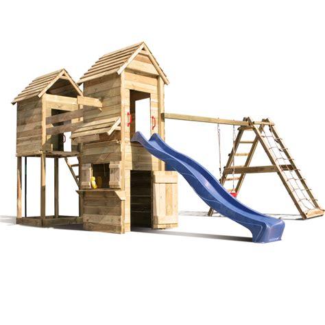 aire de jeux balancoire toboggan aire de jeux cabane en bois toboggan balancoire re