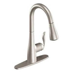 pull kitchen faucet shop moen arbor stainless 1 handle pull kitchen