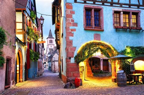 quaint town names colorful town of riquewihr alsace stock photo 169 xantana 127722876