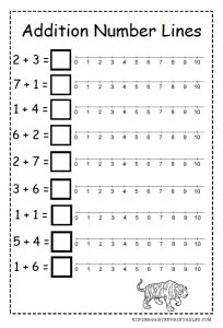 number line addition worksheets kindergarten printables