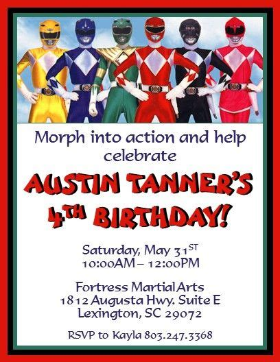 printable birthday invitations power rangers power rangers invitations 2 invitations pinterest
