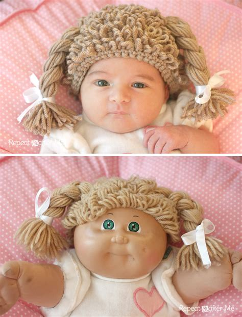 free crochet cabbage patch hair baby hat crochet cabbage patch doll inspired hat repeat crafter me