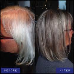 highlights and lowlights for gray hair blending gray hair with lowlights dark brown hairs