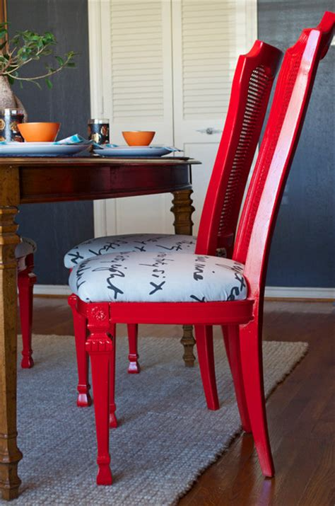 Diy Reupholster Dining Chair Diy Ideas Spray Paint And Reupholster Your Dining Room Chairs Eclectic Dining Room Dallas