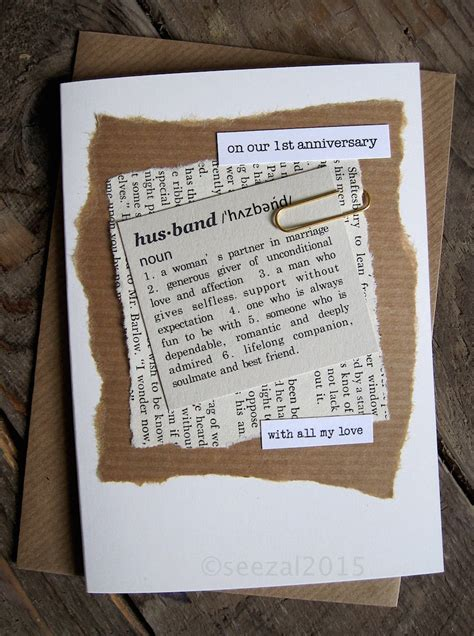 Wedding Announcement Definition by 1st Anniversary Wedding Day Card Husband Paper Dictionary