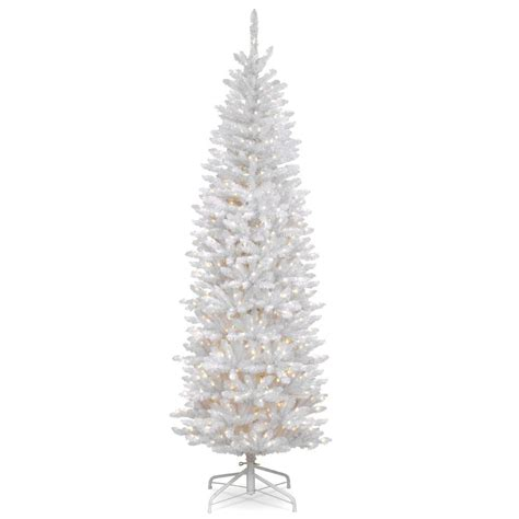 white 7 ft pre lit christmas tree clearance national tree company 7 5 ft kingswood white fir pencil tree with clear lights kww7 300 75