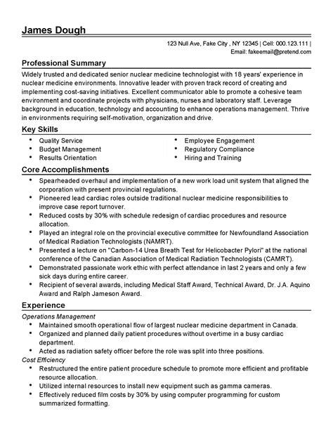 Medicine Resume Professional Nuclear Medicine Technologist Templates To Showcase Your Talent Myperfectresume