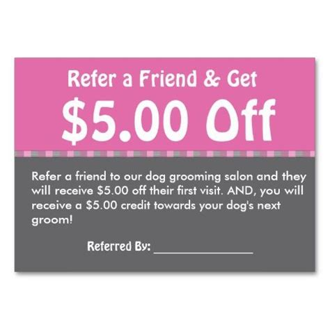 free referral card templates for cleaning grooming customer referral coupon personalize business