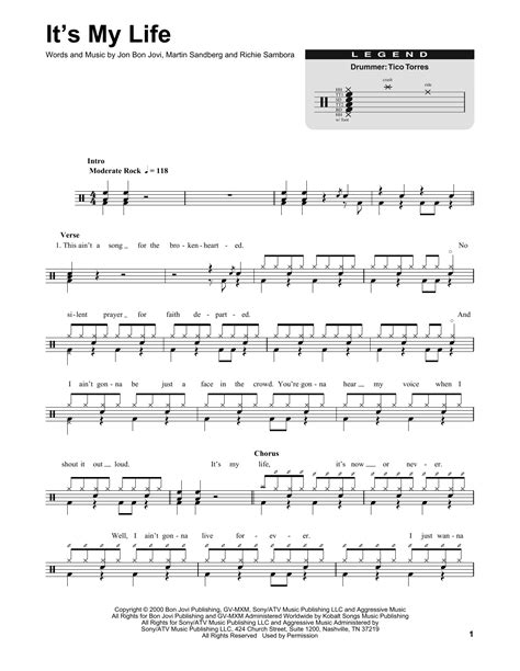 music in s it s my life sheet music by bon jovi drums transcription