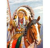 Red Indian Chief Illustration USA