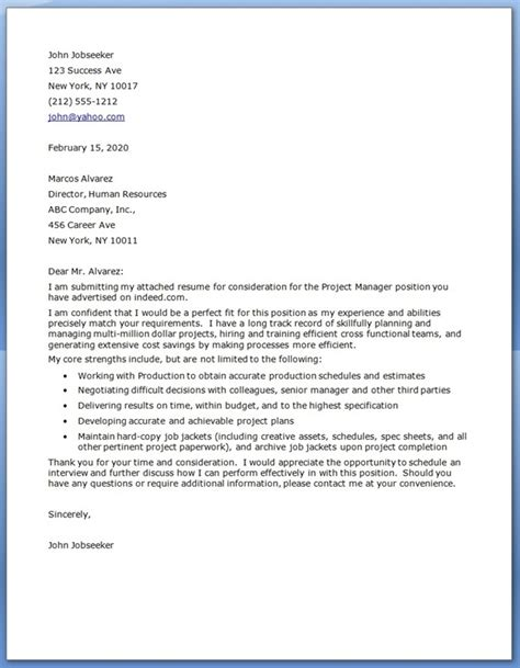 project manager cover letter project manager cover letter exles resume downloads
