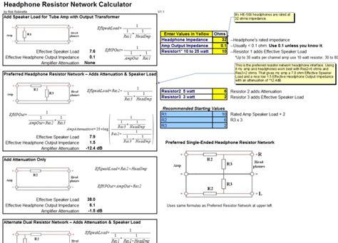 resistor network calculator headphone resistor network calculator 28 images network calc resistor value formula