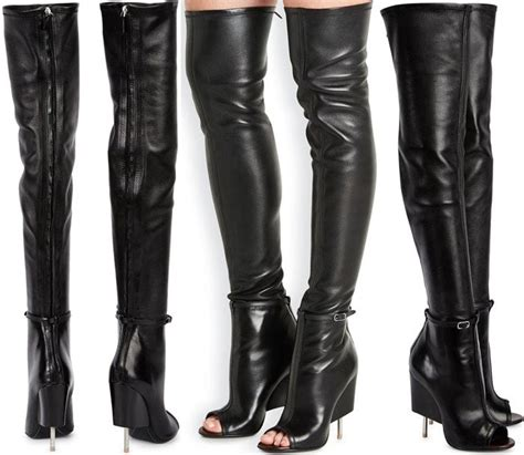 lindsay lohan in black leather givenchy quot narlia quot thigh boots