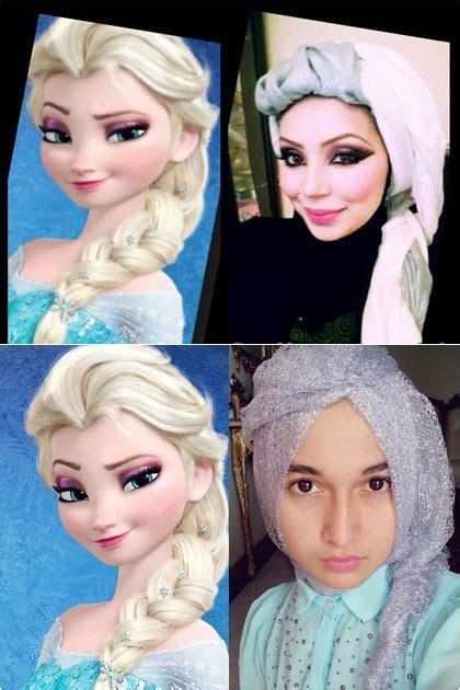 tutorial rambut ala elsa hijab style 5 hijabers bergaya ala elsa frozen miulan