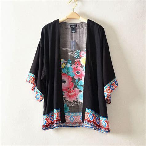 Promo Tshirt Kimono Murah novelty plus size ethnic floral painting