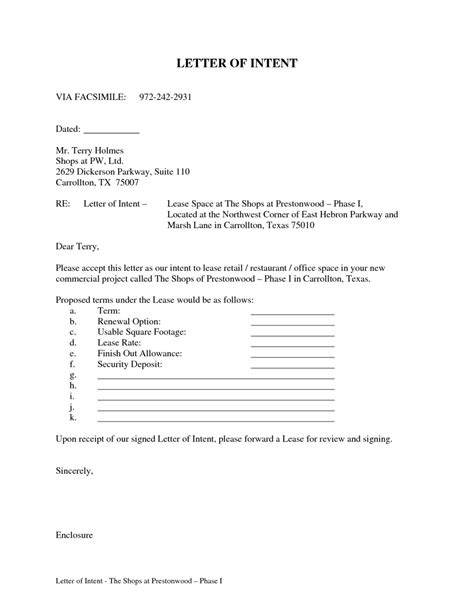 Letter Of Intent For Lease Renewal lease letter of intent sle