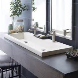 Trough 4819 48 inch double trough drop in concrete bathroom sink