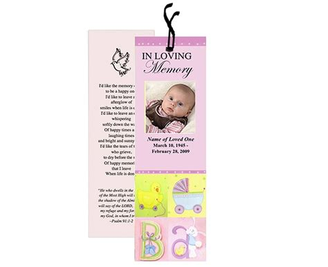 memorial bookmark templates for a child or baby special