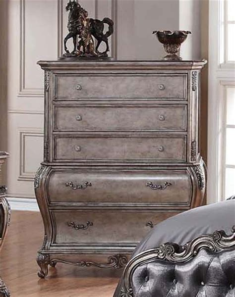 antique finish bedroom furniture chantelle 6 piece bedroom set in antique silver finish by