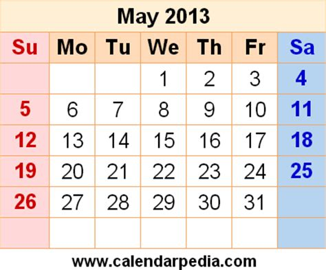 may 2013 calendars for word, excel & pdf