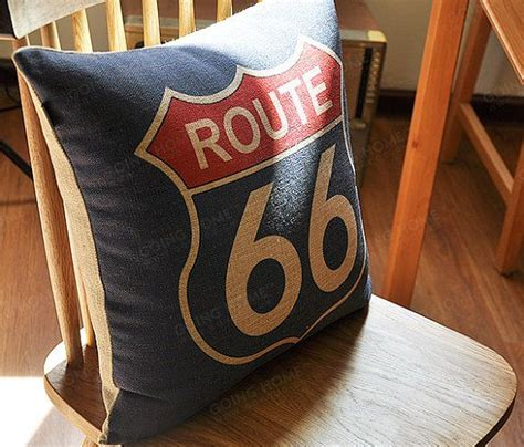 linen cotton pillow cover route 66 home decor pillow
