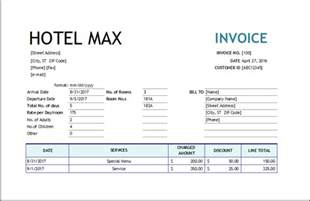 hotel services invoice excel invoice templates