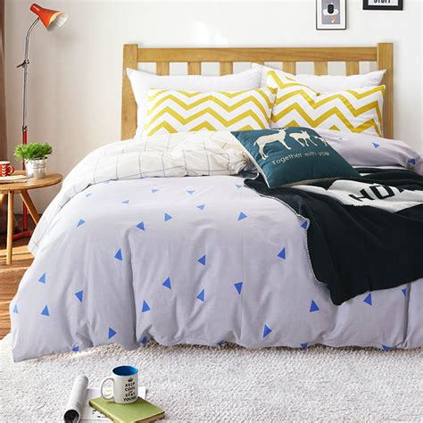 Blue And White Duvet Cover 100 Cotton Nordic Style Bedding Set 4pcs Quilt Cover White