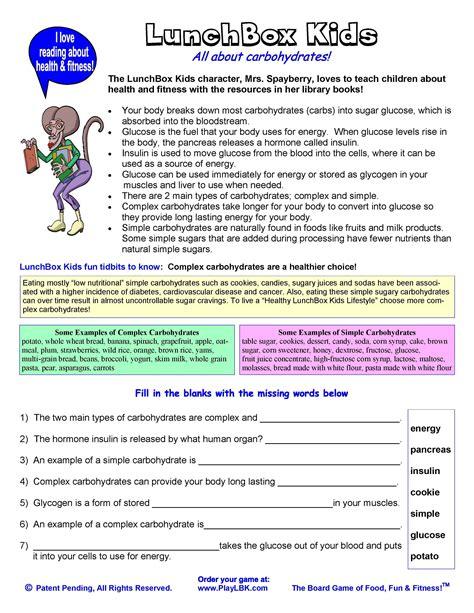 carbohydrates 5th grade reading comprehension worksheets nutrition worksheet exle