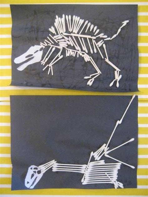 dinosaur craft ideas for dinosaur bones craft made with q tips great site with a