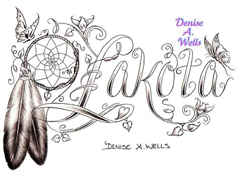 lakota dreamcatcher eagle feather tattoo design by denise