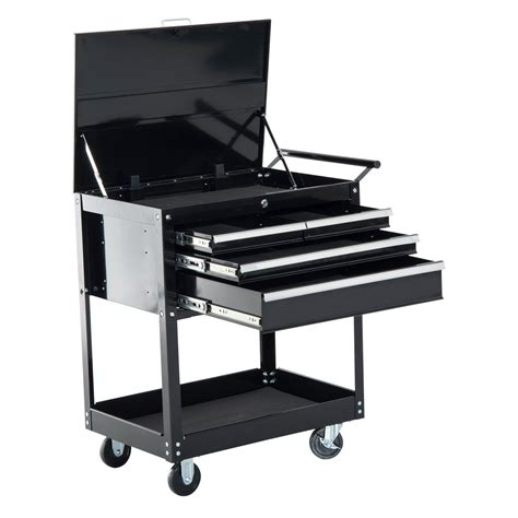 4 drawer rolling tool cart homcom 4 drawer top storage rolling tool chest cart