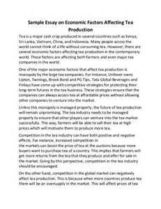 Essay About Economy by Sle Essay On Economic Factors Affecting Tea Production