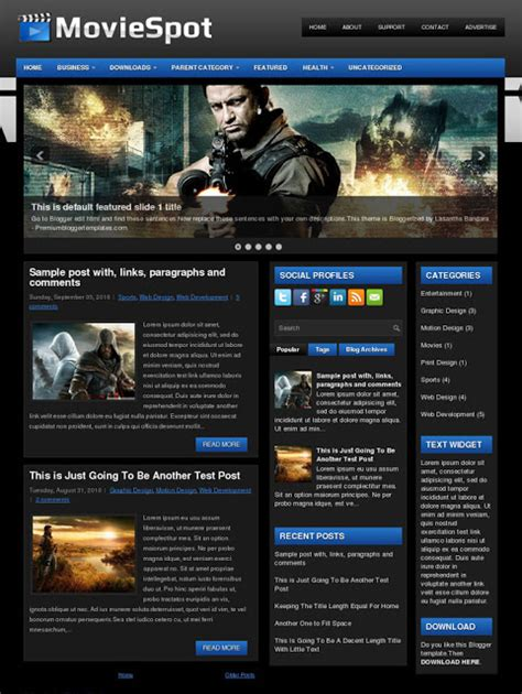 blogger templates for movie site top 10 movie templates for blogger trickolla