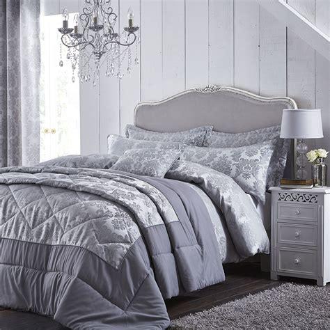 Damask Bed Set Damask Jacquard Duvet Quilt Cover Set King Size Bedding Silver