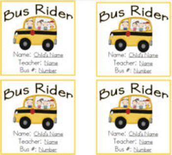 Transportation Tags For Students Bus Car Afterschool And Daycare Riders Classroom Tips Car Rider Tags Template