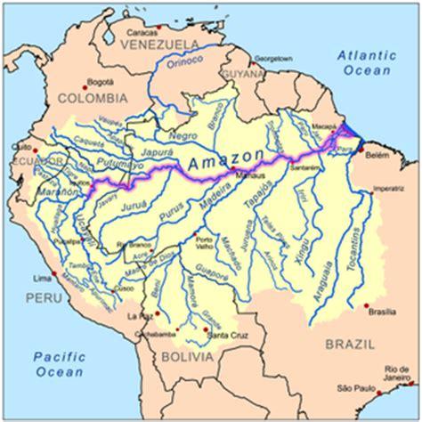 amazon river map physical settings the amazing amazon river