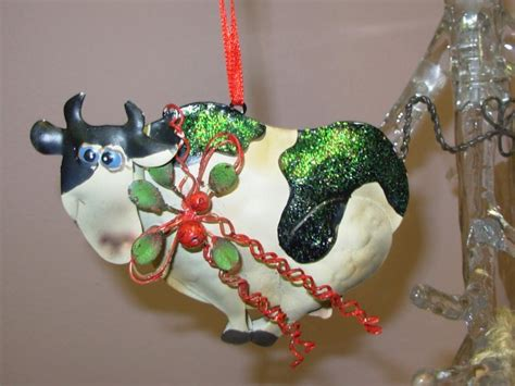 whimsical cow christmas ornament new ganz home holiday decor