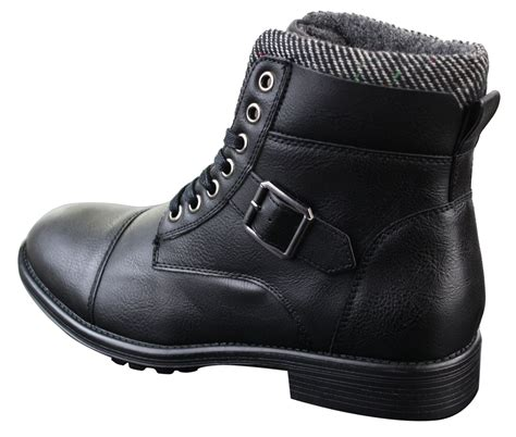 mens ankle boots with buckles mens vintage biker army buckle laced ankle boots