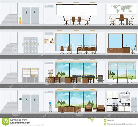 interior design plans cutaway office building with interior design plan stock